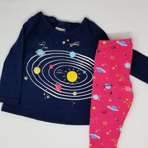 Matching Sets - Baby Girl Long Sleeve Pant Solar System Set